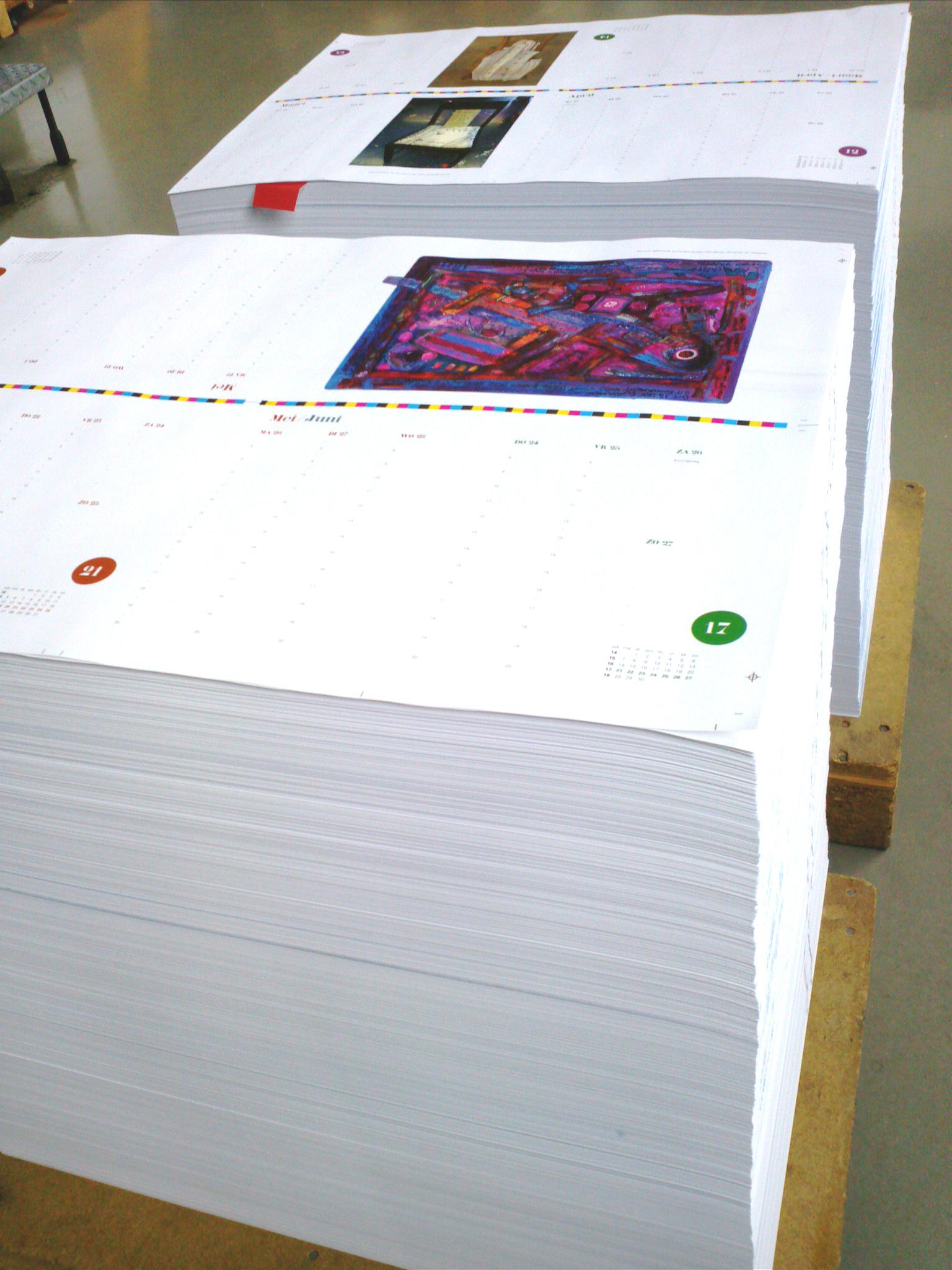 Eerste drukvellen rollen van de drukpers voor Amerpoort agenda 2014